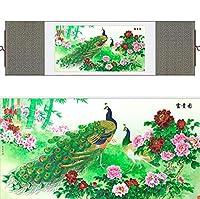 中国の伝統的な芸術絵画鳥の水中シルク巻物絵画孔雀絵画印刷された絵画-100cmx30cm_Yellow_package