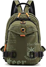 Men's Shoulder Bag,Messenger Bags,Nylon Letter Printing Casual Water Resistant Anti-Theft Backpack for College Travel Business,ArmyGreen