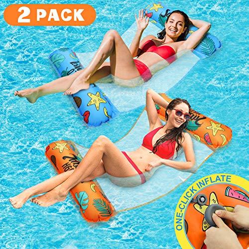 lenbest 2 Pack Amaca Gonfiabile, Un Click Gonfiabile Amaca di Acqua Galleggiante Gonfiabile Pieghevole Letto Lounge Materassino Sedia Sdraio da Mare Piscina Spiaggia Giardino per Adulti Bambini