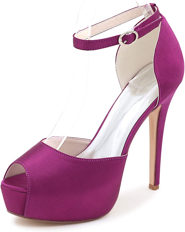 LLBubble Stiletto Heels Platform Bridal shoes Satin Ankle Strap Peep Toe Prom Evening Pumps 3128-08