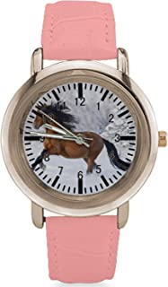 Coolstuffs Pink Leather Band Horse Watches for Women with Gold Face