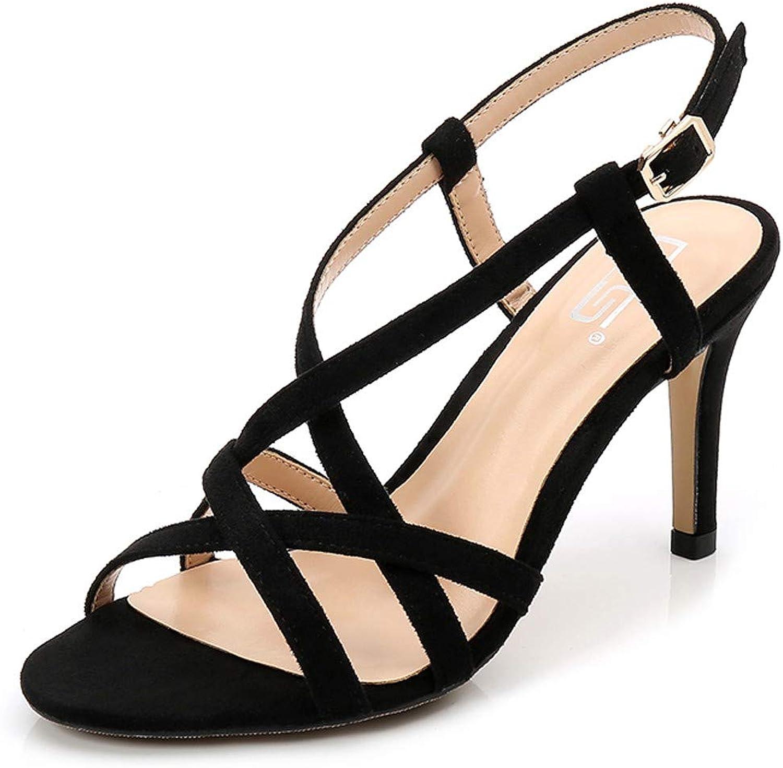 GTVERNH Women's shoes Summer Fashion Suede 8Cm High Heel Slim-Heeled Sandals Sexy Hollow Back Half Belt 100 Sets Women's shoes