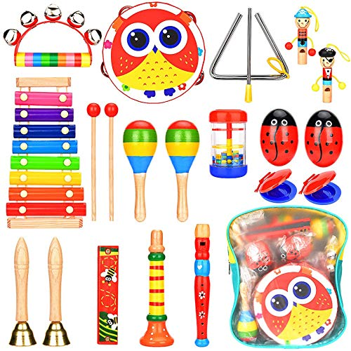 Elover Toddlers Musical Instruments Music Toys Set Wooden Percussion Instruments with Storage Backpack Early Learning Musical Noisy Toys for Kids Girls Boys