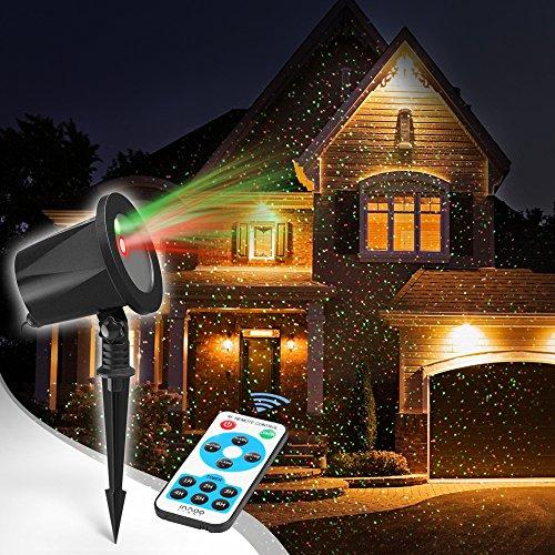 Projecteur de Noël, spot étoilé rouge et vert, extérieur, jardin, fête de Noël, décoration d'Halloween