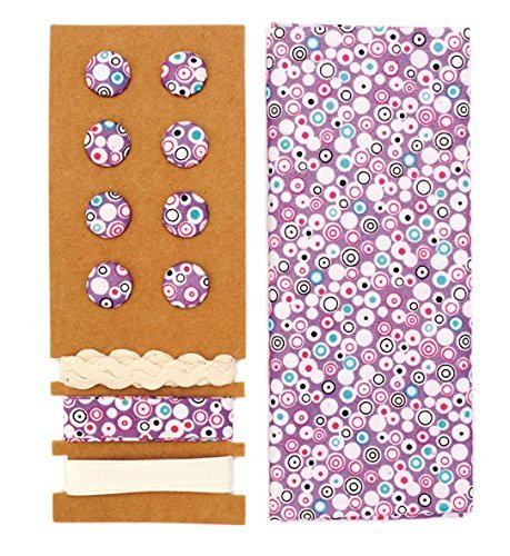 Lili Rose Textile Kit Violet cercles 48 x 48 cm Bandes 3 x 1 m 8 boutons