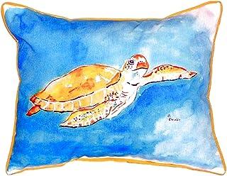 "Betsy Drake SN156 Brown Sea Turtle Pillow, 11"" x14"""