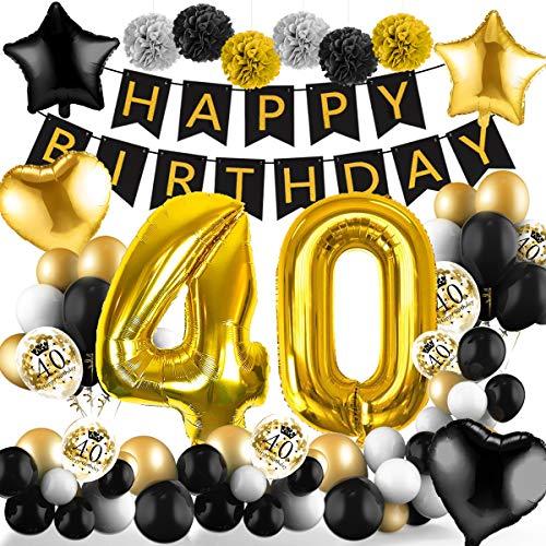 Amteker 40 Geburtstag Deko Schwarzes Gold – 39 Stück Geburtstag Deko, Happy Birthday Banner, Konfetti Luftballons, Riesen Zahl Folienballons, 40. Geburtstag Dekoration für Mädchen und Jungen
