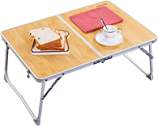 Foldable Laptop Table, Superjare Bed Desk, Breakfast Serving Bed Tray, Portable Mini Picnic Table & Ultra Lightweight, Folds in Half with Inner Storage Space - Bamboo Wood Grain
