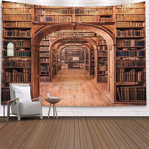 Old Bird Vintage Bücherregal Bibliothek Wandteppich Retro Art Wandbehang Wohnkultur für Wohnzimmer Schlafzimmer Wohnheim Hintergrund Wand Hintergrund (Bücherregal 4, 200x150cm)