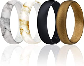 ROQ Silicone Wedding Ring for Women, Thin, Affordable 6mm Metallic Silicone Rubber Wedding Bands, Comfort Fit, Singles & 4 Packs - Rose Gold, Silver, Gold, Platinum, Copper, Bronze, Gunmetal
