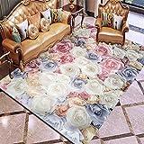 HJFGIRL 3D Teppich Europäischer Stil Große Bodenmatte Kunst Blumenteppich Anti-Rutsch-Krabbelmatte Für Wohnzimmer Schlafzimmer Mode Küchenteppiche Teppiche,C,160x200cm(63x79inch)