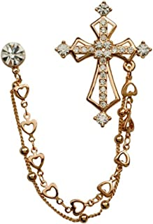 Fashion Rhinestone Cross Chain Brooch Lapel Pin for Men Shirt Suit Wedding Accessory