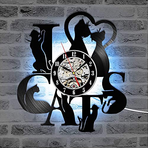 wtnhz LED-Reloj de Pared con Registro de CD con Tema de Gato, Reloj de Vinilo LED Vintage, Reloj de decoración único Mudo, Reloj de Pared 3D