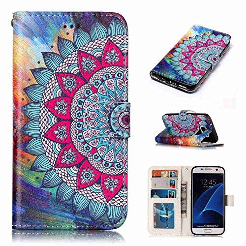 pinlu® Funda para Samsung Galaxy S7 Edge Prima PU Billetera Flip Wallet Case Carcasa Soporte Función con Ranuras de Tarjeta Diseño Mandala Patrón