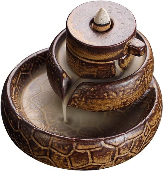 LONLLXL Backflow Incense Burner Ceramics With 60 Pcs Incense Cones Creative Ceramic Backflow Incense Burner To Run Home Indoor View Smoke Aromatherapy Tea Ceremony Sandalwood Furnace Ornamen