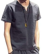 RanSy スウェット Vネック 半袖 Tシャツ メンズ 麻 無地 ストリート系 カジュアル 夏服 シャツ
