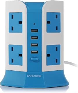 Safemore 8 Way Socket Extension Lead Overload Protection Adaptor Power Strip with 4 USB Ports- UK Plug (Blue + White)
