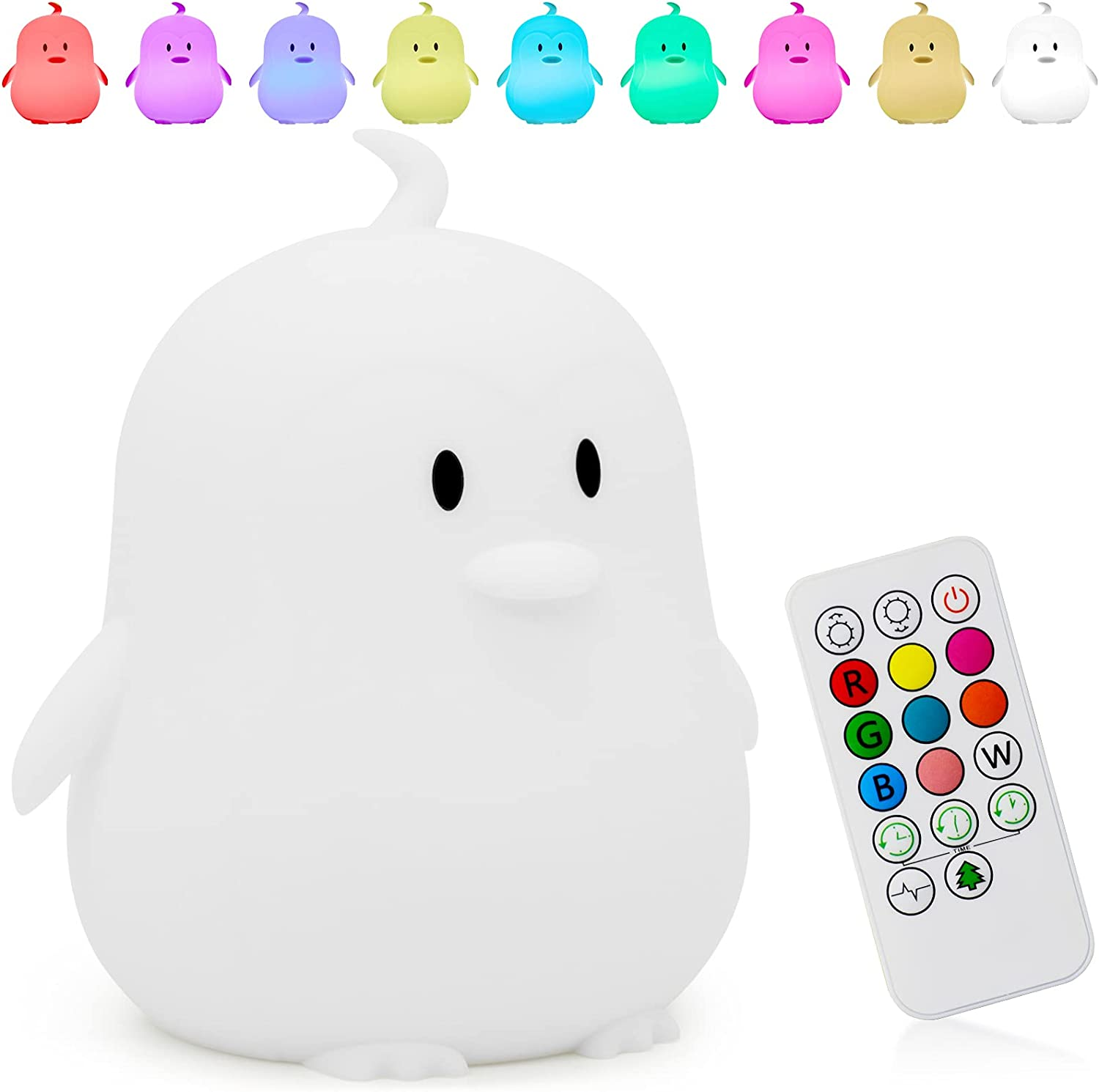 Cute Penguin Kids Night Light,Portable Changing Mode Multicolor Silicone Rechargeable Animal Led Boy Nightlight,Baby Birthday Gift Mom Teenage Girl Nursery Squishy Night Lamp Children Kawii Room Decor