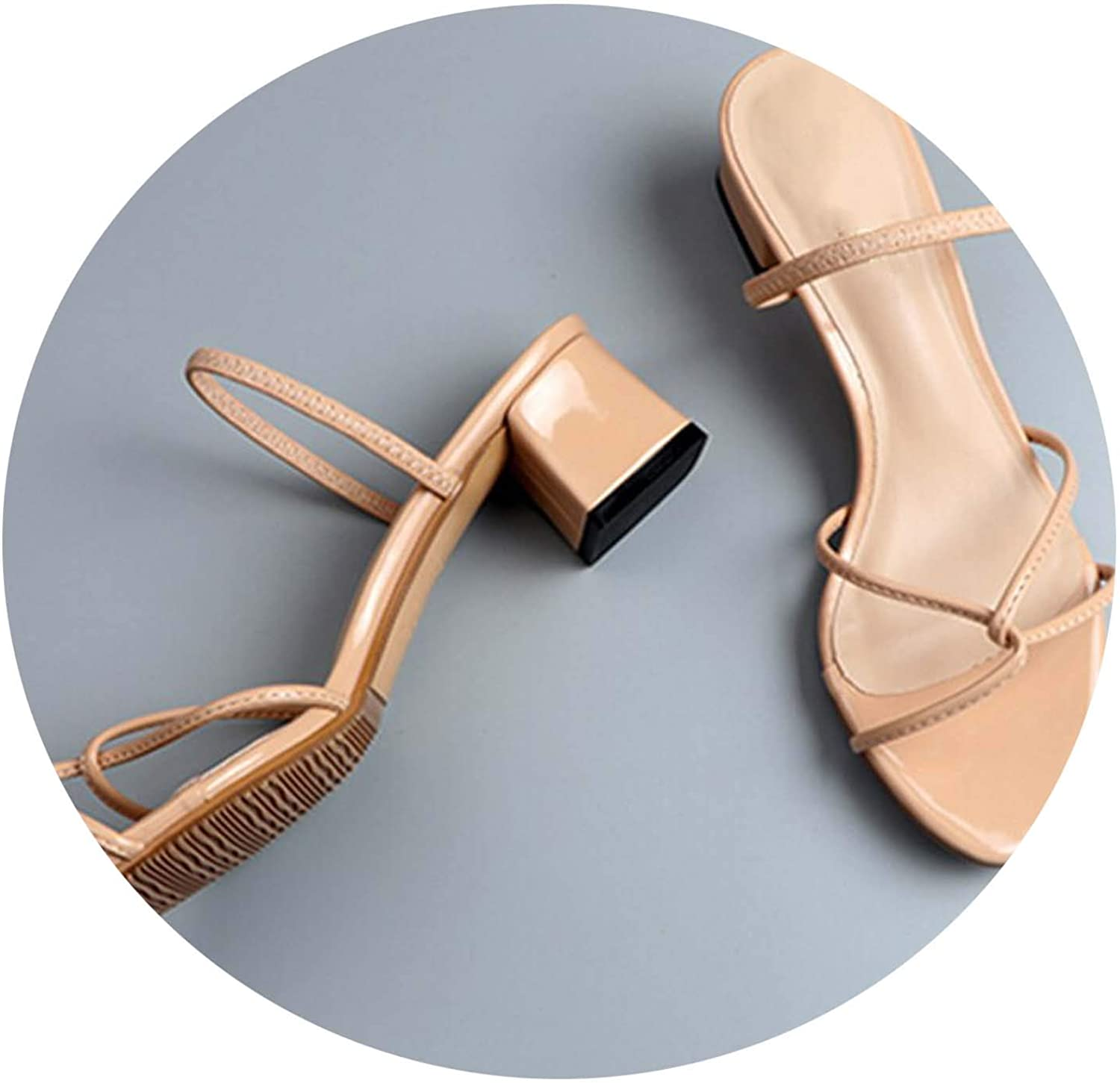 2019 New Sandals Female Summer Wear Medium with Two Sandals Open Toe High Heels 5cm Fine with Nude color