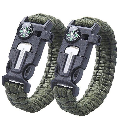 [2 Pack ] Bracciali di sopravvivenza in paracord , Sahara Sailor bracciale sopravvivenza con fischietto, bussola e fuoco Scout per Sopravvivenza Campeggio, colore: verde militare
