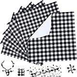 6 Sheet Christmas Buffalo Plaid Self Adhesive Vinyl Sheet Adhesive Craft Vinyl Sheet 12 x 12 Inches Compatible with Cricut and Other Cutters (Black and White)