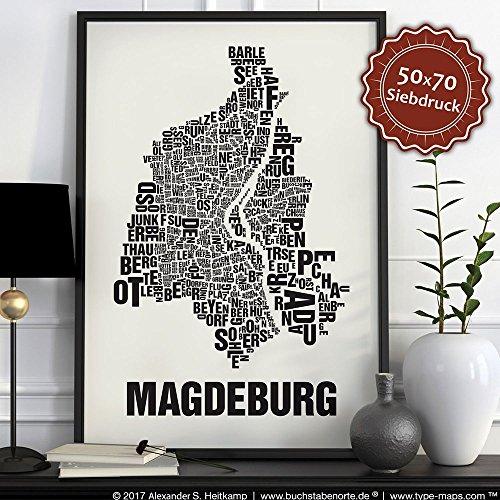 Magdeburg Buchstabenort Schwarz auf Naturweiß