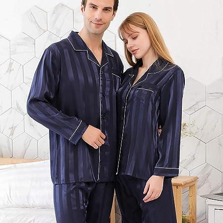 YUHOOE Pijama De Parejas De Seda para Mujer & Conjunto De ...
