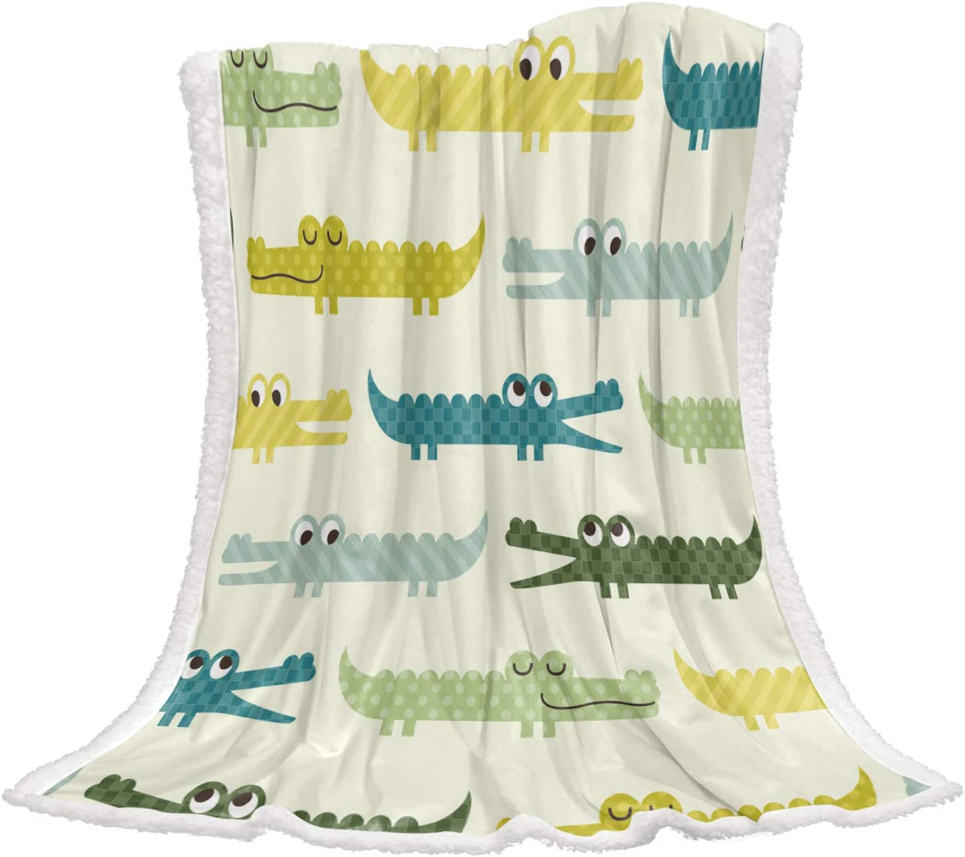Meet 2021 spring and summer new 1998 Cartoon Crocodile Sherpa Blanket Flannel Fluffy Throw quality assurance