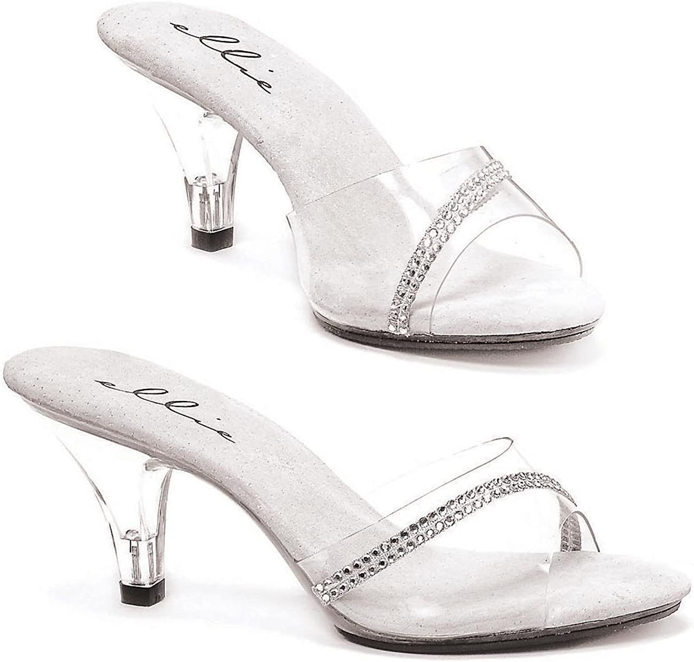 Ellie shoes E-305-Jesse, 3  Heel Clear Mule with Rhinestones.