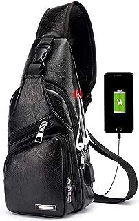Seoky Rop Men's Leather Sling Bag Chest Crossbody Shoulder Bag with USB Charging Port Black