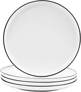 Hoxierence 8-in Ceramic White Dinner Plates, Classic Black Line Edges Round Lunch Plate, Suitable for Steak, Appetizers, P...