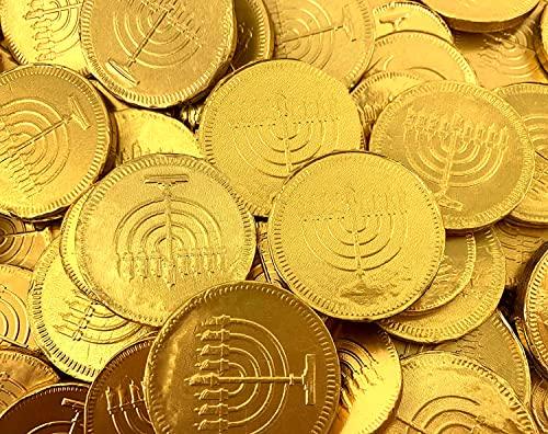 Hanukkah Gelt Golden Coins, Belgian Milk Chocolate Candy (2 Pound Pack, 180 ct)