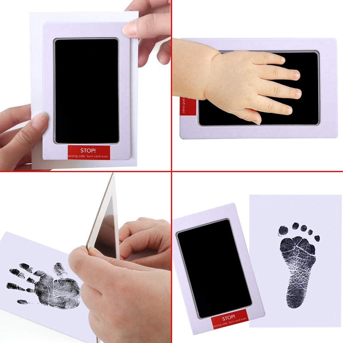 Xiangmall Kit Impronte Bimbi Clean Touch Ink Pad with Imprint Cards Cornici Carta Foto Clip di Legno Corda Canapa per Family Regalo Ricordo Baby Shower and Registry nero