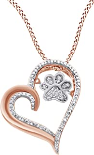 Christmas Holiday Sale White Natural Diamond Paw Print Heart Pendant Necklace in 925 Sterling Silver & 10K Solid Gold (0.1 Cttw)