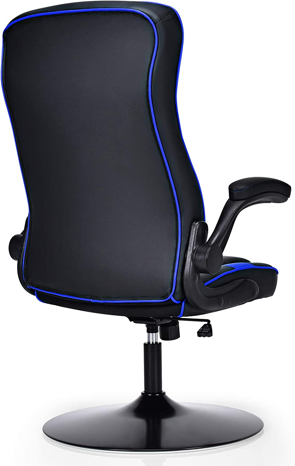 High Back Leather Rocking Racing Chairs with Adjustable Armrest and Lumbar Support Blue+Black Ergonomic Swivel Computer Desk Chairs for Home Office COSTWAY Gaming Chair