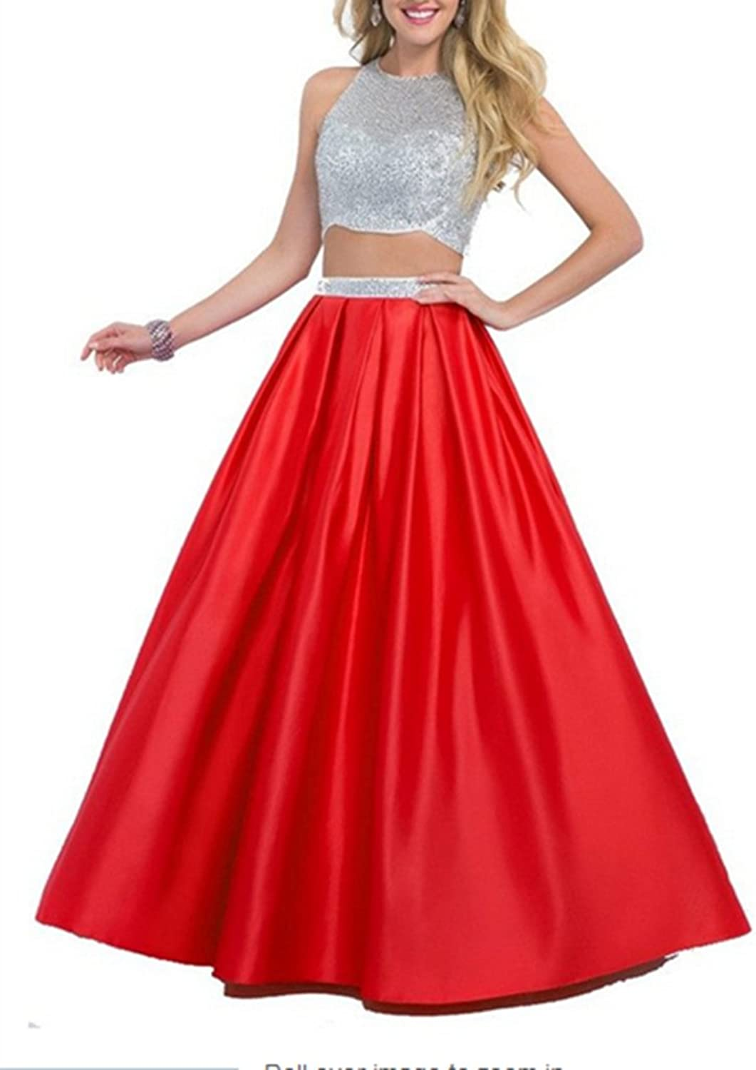 Emmani Women's Long Two Pieces Beads Special Formal Prom Dresses