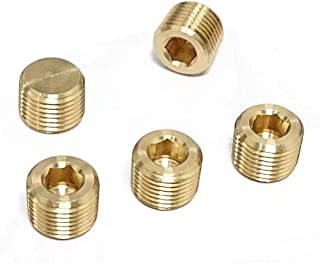Tanya Hardware Brass Pipe Fitting, Hex Counter Sunk Plug, 1/4 Inch NPT Male Pipe - 5 Pack