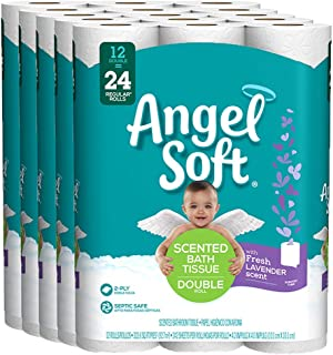 Angel Soft Toilet Paper Bath Tissue, 60 Double Rolls = 120 Regular Rolls, 242 2-Ply Sheets with Fresh Lavender-Scented Tube