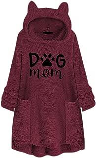 Women Fleece Embroidery Cat Ear Plus Size Hoodie Pocket Top Sweater Blouse