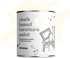 Hemway Off White Chalk Based Furniture Paint Matt Finish Wall and Upcycle DIY Home Improvement 1L / 35oz Shabby Chic Vintage Chalky (50+ Colours Available)