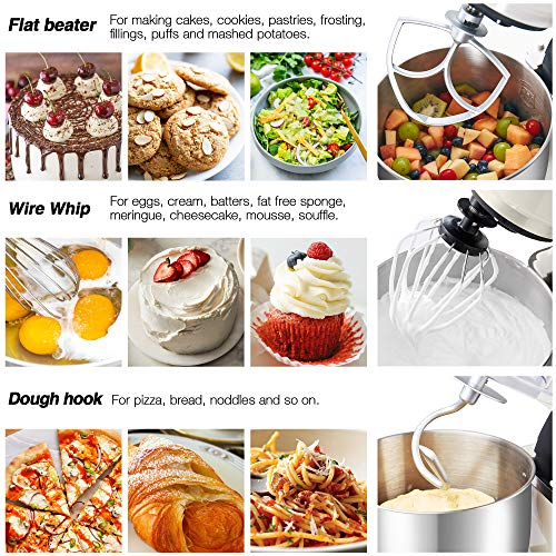 Hauswirt Stand Mixer, Food Mixer with 5L Stainless Steel Mixing Bowl, 8 Speed -1000W Electric Kitchen Mixer for Baking with Dough Hook, Whisk & Beater - LCD Display, Planetary Mixing System