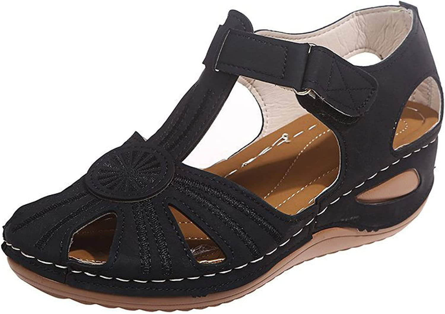 Women Wedges Cutout Design Comfortable PU Leather Lining Breathable Ankle Sandal Rest Outdoor Shoes