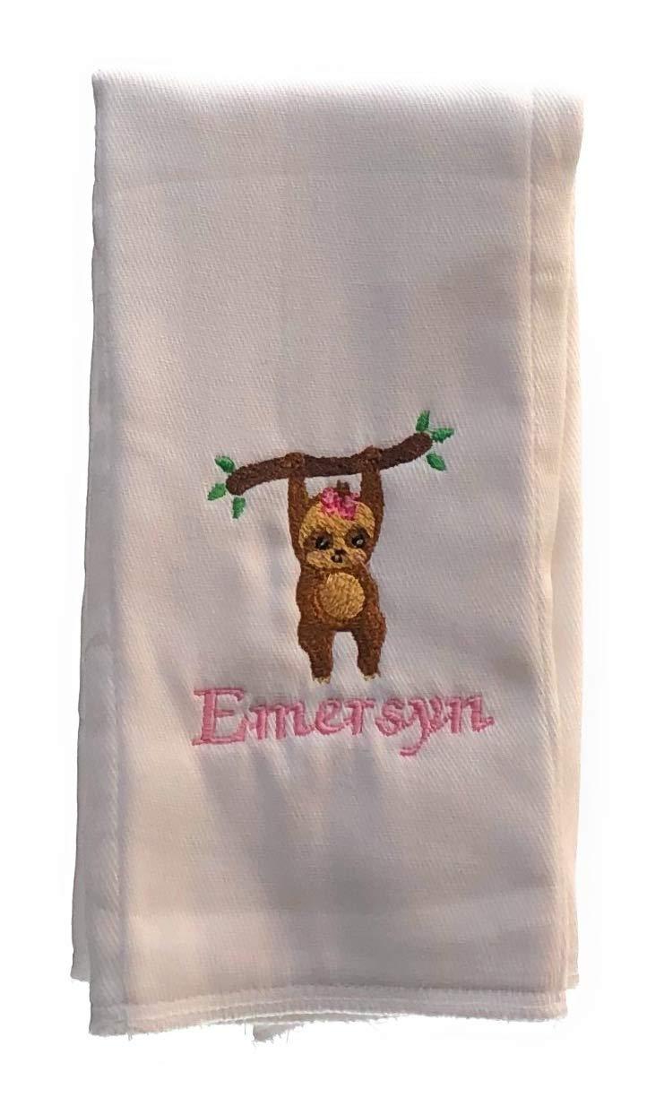 Girl Sloth Embroidered Cloth Burp 5 Regular discount ☆ popular Keepsake