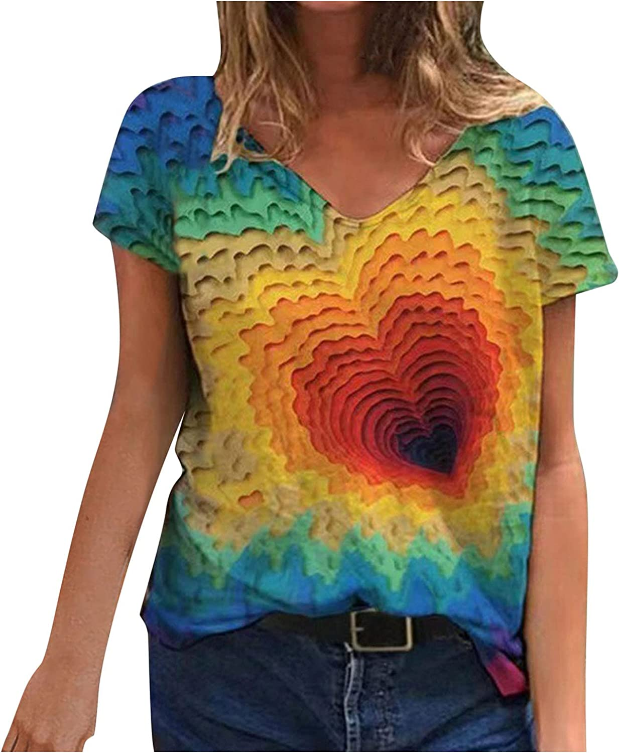 Forwelly Women's Summer Short Sleeve T Shirt Casual Loose V Neck Tee Shirt Blouse Fashion Tie Dye Print Tunic Top