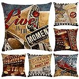Hodeacc 6 Fundas de Almohada con diseño de película Vintage, Fundas de cojín de Cine de Teatro,Funda de Almohada Decorativa para proyector de película para sofá,18 x 18 Pulgadas,Solo Funda