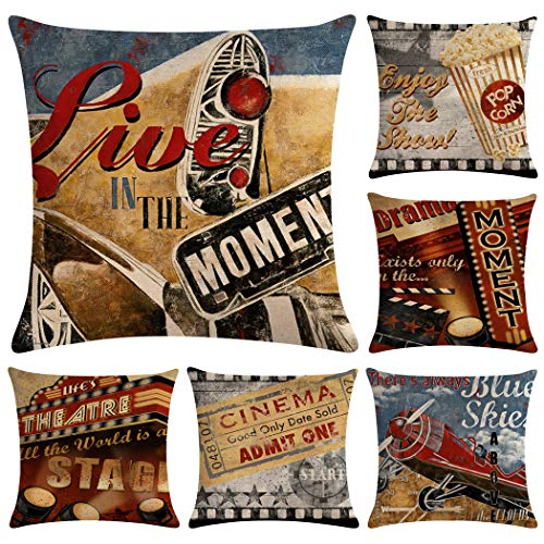 Hodeacc 6 Pcs Vintage Movie Pattern Pillow Cases,Theater Cinema Cushion Covers Film Projector Decorative Pillow case for Sofa Couch Bed Chair,18 x 18 Inch,CASE ONLY