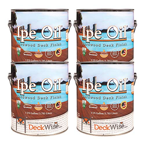 DeckWise Ipe Oil Hardwood Deck Semi-Transparent 250 VOC Natural Finish (Pack of 4, 1-Gallon Each)