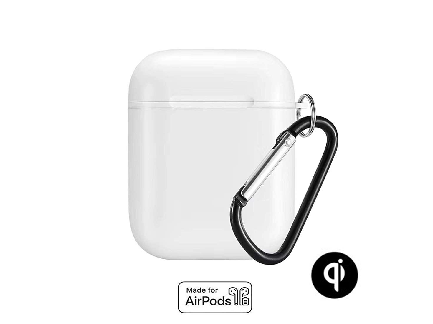 Airpods Wireless Charging Protective Case - Compatible with Any QI Charger, Lightning Adapter. Wireless Charging Case for Airpods (White)