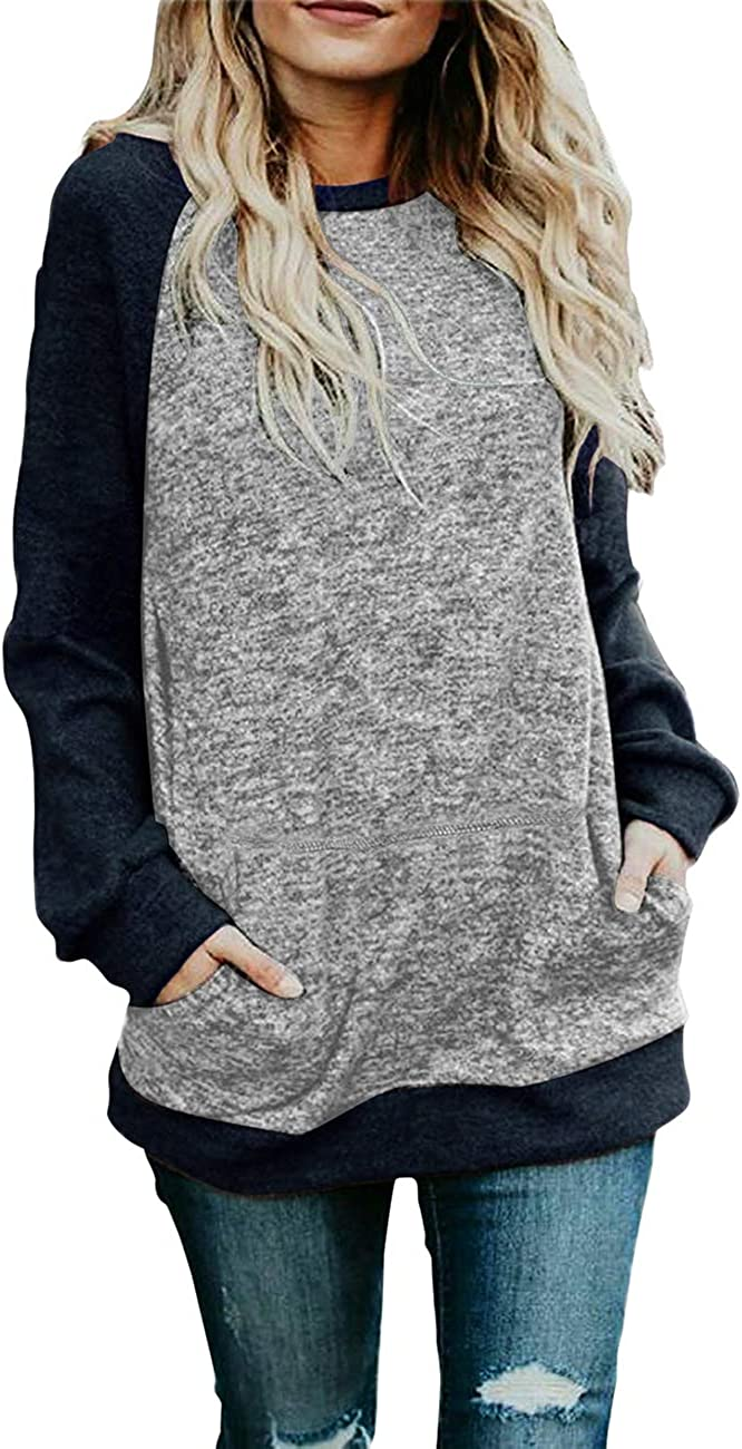 Sanifer Women's Crewneck Oversized security Block Sweatshirts Color Japan Maker New Knit