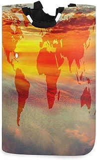 Panier à linge Alge motif carte du monde abstraite coucher de soleil pliable durable panier de rangement panier à linge pa...